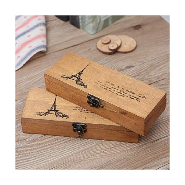 Demarkt Estuche Cajas de Madera para Lápices Pluma, Plumier Torre Vintage para Bolígrafo Soporte cajas Madera Tire Lápiz…