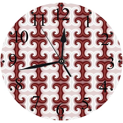 Yaoni Silencioso Wall Clock Decoración de hogar de Reloj de Redondo,Kitsch psicodélico, de la era Digital Patrones en Forma Nebulosa Kitsch Generado por comput,para Hogar, Sala de Estar, el Aula