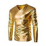 Zulmaliu Long Sleeve Tee Shirt, Mens Metallic Shiny Wet Look Long Sleeve T-Shirt Top Slim Fit V Neck Blouse (Gold, M)