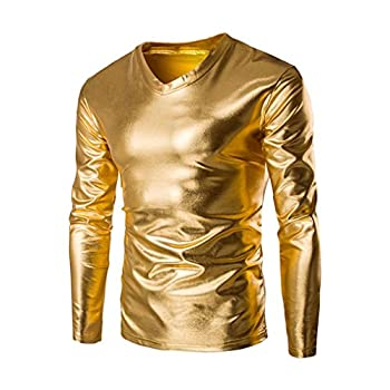 Zulmaliu Long Sleeve Tee Shirt Mens Metallic Shiny Wet Look Long Sleeve T-Shirt Top Slim Fit V Neck Blouse  Gold M