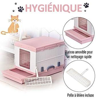 Pawhut Maison de Toilette Pliable Portable pour Chat tiroir à litière Coulissant Porte battante Transparente + Pelle fournis 43L x 54l x 42H cm Rose