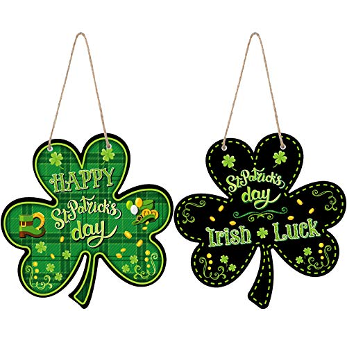 Jetec 2 Pieces St. Patrick's Day Decoration St. Patrick's Day Door Sign Irish Hanging Welcome Wood Sign Green Shamrock Hanging Welcome Home Wall Decor for St Patricks Day Party 12 x 12 Inches