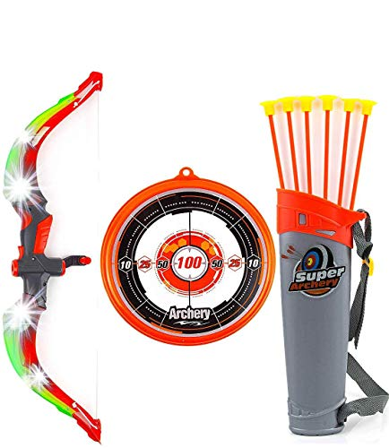 Toysery Bow and Arrow for Kids with LED Flash Lights - Archery Set with 6 Suction Cups Arrows, Target, and Quiver, Practice Outdoor Toys Archery Set for Children Above 6 Years Old (Orange)