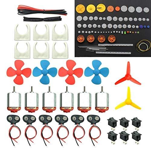 Zyilei- Motor DC Kit de Motores DIY DC, Magnético Fuerte, con Engranajes de plástico, Conector de Clip de batería, Mini Motor de Hobby eléctrico, Resistente al Desgaste