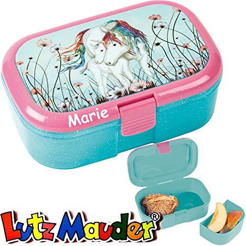 Lunchbox * LUNABELLE Einhorn Plus Wunschname * für Kinder von Lutz Mauder | Brotdose mit Namensdruck | Perfekt für Mädchen | Vesperdose Brotzeitbox Brotzeit Schule Kindergarten (mit Namen)