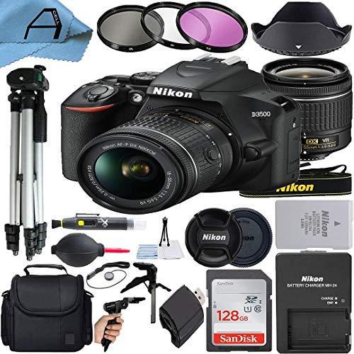 Nikon D3500 DSLR Camera 24.2MP Sensor with NIKKOR 18-55mm f/3.5-5.6G VR Lens, SanDisk 128GB Memory Card, Case, 2 Pcs Tripod, 3 Pack Filters and A-Cell Accessory Bundle (Black)