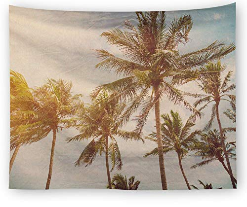N / A Tapiz de Playa de Verano Montaje en Pared Psicodélico Cielo Azul Tapiz de Sol Hoja de Palma Decoración del hogar Arte de Pared Rectangular Tapiz Art Deco para el hogar A10 73x95cm