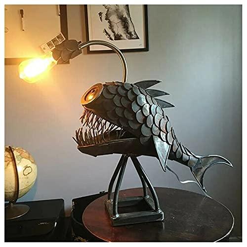 ZHMIAO Pescador Creativo lámpara de Pescado lámpara de Arte Metal Sonrisa Boca Pescado lámpara de Escritorio luz Linterna lámpara lámpara tiburón Mesa para Regalo Familiar S