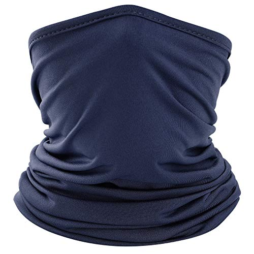 wtactful Lightweight Neck Gaiter Neck Warmer Face Mask Windproof Anti-UV Protection Cover for Motorcycle Cycling Fishing Hunting Summer Outdoor Sports Suitable for Men Women Adults One Size Navy Blue