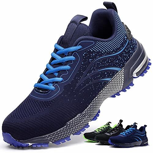 Zapatos de Seguridad S3 Hombre Mujer Calzado de Trabajo Comodo Ligeros con Punta de Acero Transpirable Anti-pinchazos Azul 37