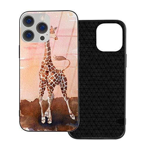 Compatible con iPhone 12 Pro Max, carcasa resistente de cuerpo completo, funda de vidrio TPU suave para iPhone 12 Pro Max 6.7 pulgadas, pintura de acuarela de jirafa