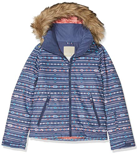 Roxy Jet Ski Abrigo de Vestir, Niños, Crown Blue_Indie Stripes, Extra-Large
