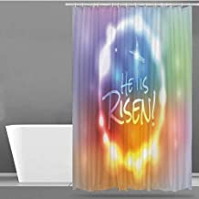 VIVIDX Fabric Shower Curtain,Colorful,He Has Risen Theme Quote with Abstract Colorful Fantasy Dreamlike Composition,Fabric Shower Curtain Bathroom,W55x84L Multicolor