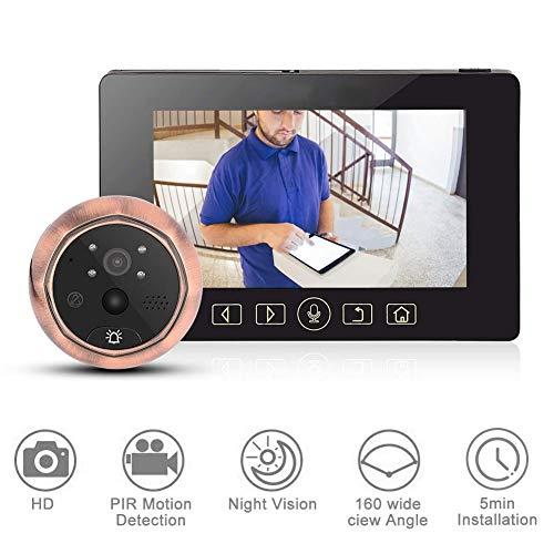 VBestlife Digitale deurspion, 4,3 inch HD LCD-scherm, deurspion met 160 graden groothoeklens, waterdichte HD-camera, deurbel, videointercom, deurspion voor thuis, kantoor, woning, hotel.