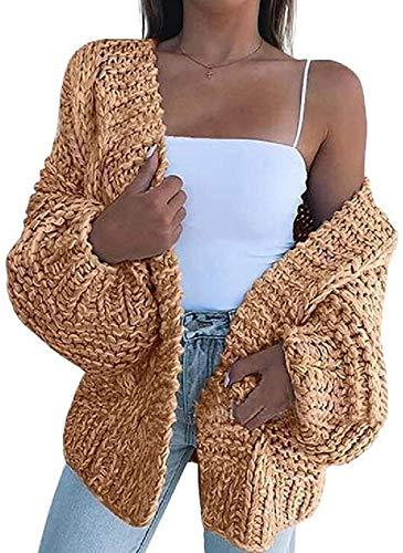 Abrigos de las mujeres Chaquetas Casual de punto flojo ajuste abierto frente Cardigan suéteres