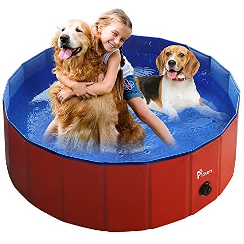 Pidsen Hundepool Swimmingpool PVC tragbare Faltbare Hunde Katzen Bad Wanne Badewanne Waschbad Haustier Schwimmbad Wasser Teich (100 * 30cm, Rot)