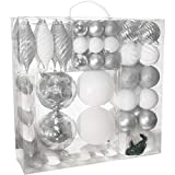 R N' D Toys RN'D Christmas Decorative Ball Ornaments – White and Silver Christmas Ball Hanging Tree Ornament Set Assorted Shapes and Sizes with Hooks - 75 Piece Set