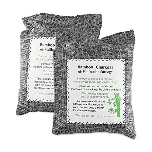 JTOOYS Bamboo Charcoal Air Purifying Bag,2Pcs Car Deodorant Carbon Bag 200g,Air Purifying Bag, Bamboo Charcoal Activated Carbon Air Freshener, Car Air Dehumidifier, Deodorant and Purifier Bag