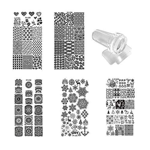 Lurrose 7 piezas kit de placas de estampado de uñas con 1 estampador 1 raspador plantillas de estampado de uñas diy halloween flor de navidad manicura nail art para niñas