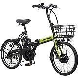 PELTECH(ペルテック) 折り畳み電動アシスト自転車 20インチ折り畳み外装6段変速 【簡易組立必要品】(TDN-208) (ライムグリーン×ブラック)
