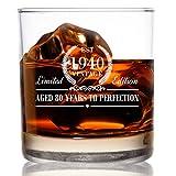 1940 Vintage Edition Birthday Whiskey Scotch Glass (80th Anniversary) 11 oz- Elegant Happy Birthday Old Fashioned Whiskey Glasses- Classic Lowball Rocks Glass- Cool Birthday Gift, Reunion Gift