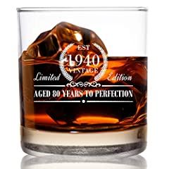 CELEBRATE TRUE ACHIEVEMENT – This beautiful Whiskey glass is part of the Vintage Edition collection designed to celebrate 80-year milestones. CLASSIC, ELEGANT WHISKEY GLASS – The traditional 11 oz whiskey glass provides a simple yet sleek design with...