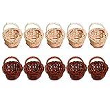 TOYANDONA 10 Piezas Mini Cesta de Mimbre en Miniatura con Asas Casa de Muñecas Cesta de Picnic de Frutas Y Verduras Maceta de Suculentas para Suministros de Casa de Muñecas