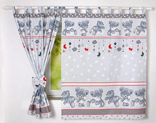 BABYLUX Kinderzimmer VORHANGE mit Schlaufen Kinder und Baby Gardinen 2x 120x160 cm (79. Bäre Grau)