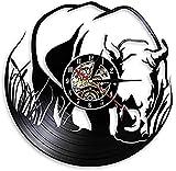 mbbvv Reloj de Vinilo Rinoceronte Decoración de Animales Salvajes Reloj de Pared Zoológico Vida Silvestre África Selva Rinoceronte Reloj de Pared con Registro láser