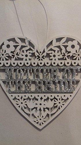 Gisela Graham Wedding White Wood Heart Glitter Bridesmaid Mr & Mrs Decoration (WHITE MOTHER OF THE BRIDE)