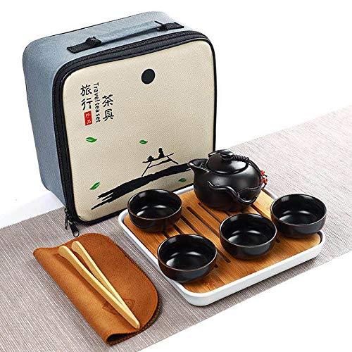 HONGYUE 8 en 1 Juego de té de cerámica Pingüino Kung Fu Tetera 1 Pot 4 Tazas de té 1 Bandeja Holder Vaso Chino con Gama Alta Caja de Regalo (Negro) (Color : Black)