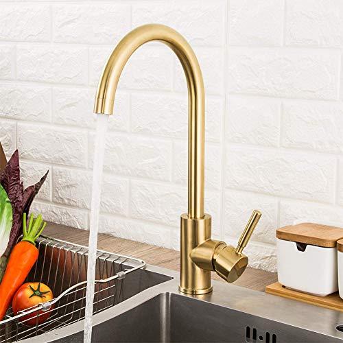 RUNTH Messing Küchenarmatur 360° Drehbar Wasserhahn Gebürstet Mischbatterie Hochdruck Armatur Küche Spültischarmatur Einhebelmischer für Küche Spüle, Gold gebürstet