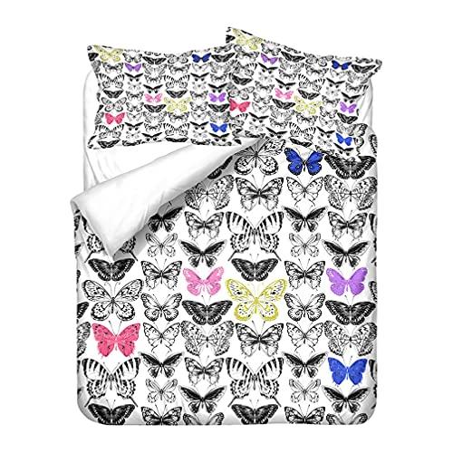Niño Juego de Cama 3D Mariposa Flores Patrón Vistoso Impresión Funda nórdica y Funda de Almohada (Flor 1, 240 x 220 cm-Cama 150 cm)