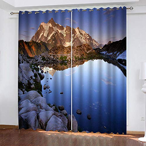 LOVEXOO Thermal Blackout Curtains Eyelet Fabric Alpine landscape 28.54'x96.46' Window Treatment Solid - Privacy Protected Panel for Bedroom Living Room Home Decoration Set of 2,