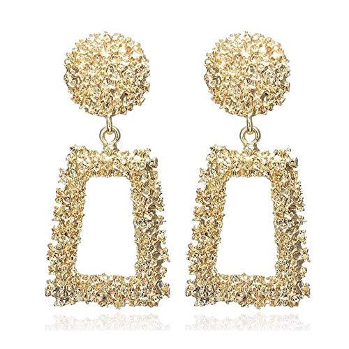 Pendientes de moda, joyería para niñas Versátil pendientes geométricos cuadrados de metal, oro()