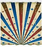 ABAKUHAUS Zirkus Duschvorhang, Flaggen-Farbhintergr&, mit 12 Ringe Set Wasserdicht Stielvoll Modern Farbfest & Schimmel Resistent, 175x240 cm, Mehrfarbig