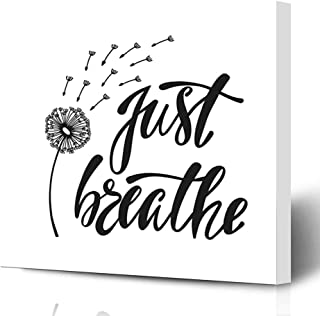Ahawoso Canvas Prints Wall Art Printing 16x16 Dandelion Just Breathe Inspirational Quote About Freedom Miscellaneous Breath Doodle Air Flower Painting Artwork Home Living Room Office Bedroom Dorm