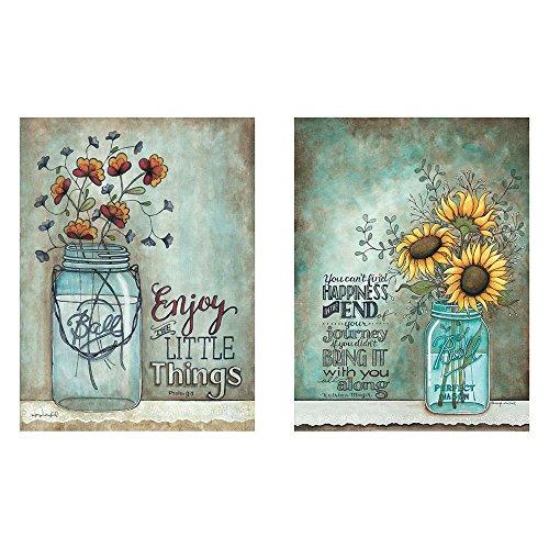Two 12x16 Wall Art Prints Ball Mason Jars Sunflowers Poppies