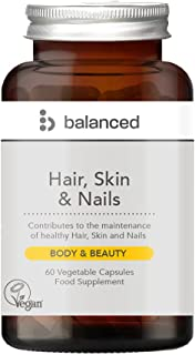 Balanced UK - Hair, Skin and Nails Capsules - 60 Veg Caps - Strengthens and Improves Hair Health - Stronger and Healthier ...