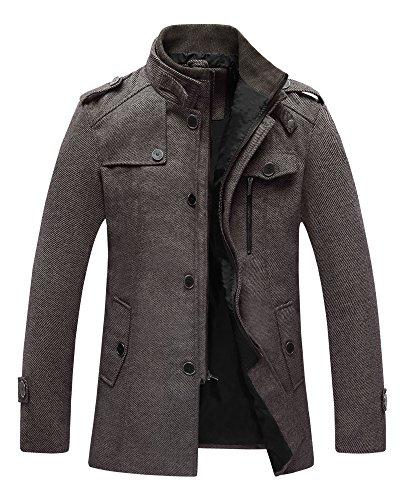 Wantdo Męski ciepły płaszcz, zimowy, gruby płaszcz groszkowy, mieszanka wełny, kurtki, klapy na ramiona, płaszcz, wiatroszczelna kurtka ze stójką z zamkiem błyskawicznym na całej długości