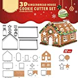 3D Christmas Gingerbread House Cookie Cutters,Festive Xmas House Cookie Cutter Mold Set,Gingerbread House