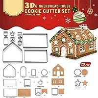 3D クリスマス ジンジャーブレッドハウス ステンレススチール クッキーカッター フェスティブ クリスマス ビスケット ペストリー フォンダン ケーキ デコレーション モールドセット チョコレートハウス お化け屋敷 ギフトボックスパッケージ