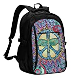 asfg Resistente a Las Manchas Psychedelic Wings Singleton Hippie Art Multifunctional Personalized Customized USB Backpack, Student School Outdoor Backpack,Travel Bag Laptop Bookbags Business Daypack