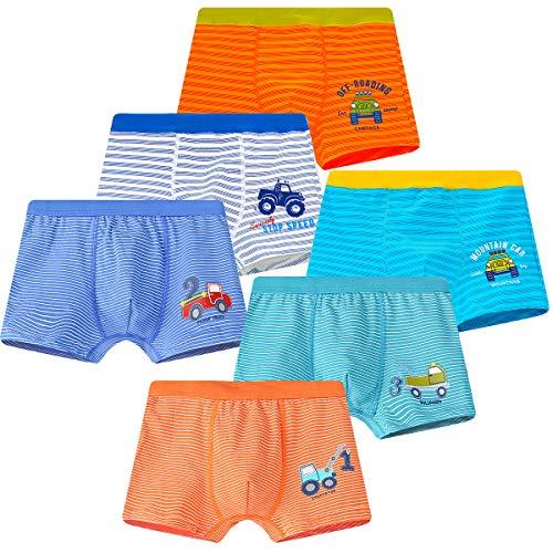 YOUNGSOUL Jungen Boxershorts Kinder Unterhosen Dinosaurier Baumwolle Unterwäsche 6er Pack Modell 1 2-3 Jahre 86-92