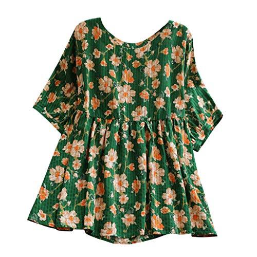 Zegeey Damen T-Shirt Bluse Vintage Rundhals Baumwolle Und Leinen Sommer LäSsige Knopfleiste Solide Tunika Pullover Oberteil Tops Shirts (B6-Grün,40 DE/L CN)