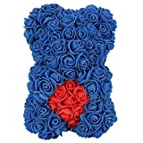 FeiWen Oso de Flor Rosa 10 Pulgadas Oso de Peluche Flores Artificiales Día de la Madre ,Día de San Valentín , Aniversario con Despedida de Soltera con Caja de Regalo Transparente (Corazón Azul)