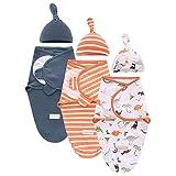 Hooyax Swaddle Blanket for Baby Boys and Girls, 100% Cotton Swaddle Wrap Adjustable Sleep Sack for Newborn Baby, 3 Pack, Navy+Orange Stripe+Dinosaurs (Large 3-6 Months)