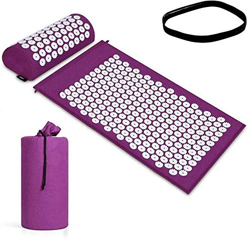 Firoya Shiatsu Pad Set Akupunktur Kissen KopfstüTze Und Stofftasche Tragbare Tasche Yoga Erholung Nach Dem Training Kann Massage Gesundheitspflege Entspannung Spannungsentspannung DurchfüHren