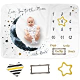 Luka&Lily Baby Monthly Milestone Blanket for Baby Boy and Girl, Baby Photo Blanket for Newborn Baby Shower, Monthly Blanket for Baby Pictures, Includes Bandana Drool Bib + 2 Frames, Large 60'x40'