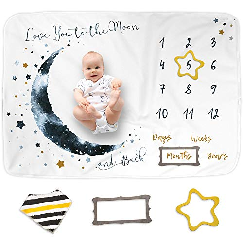 LukaampLily Baby Monthly Milestone Blanket for Baby Boy and Girl Baby Photo Blanket for Newborn Baby Shower Monthly Blanket for Baby Pictures Includes Bandana Drool Bib  2 Frames Large 60quotx40quot